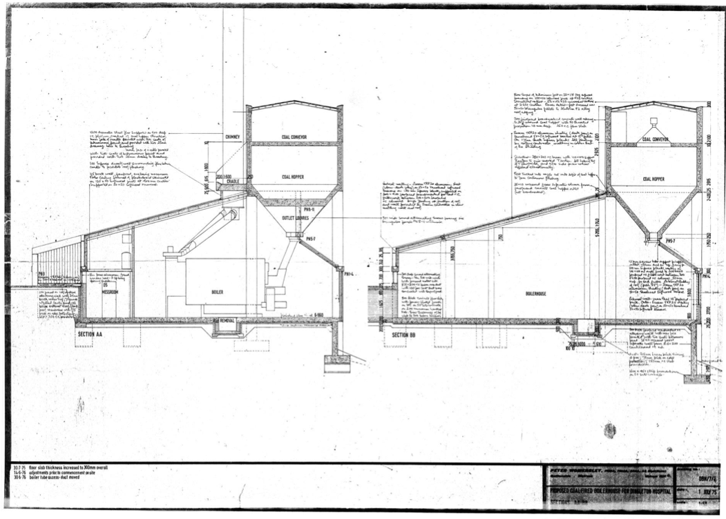 Peter Womersley original drawings for Dingleton Boilerhouse