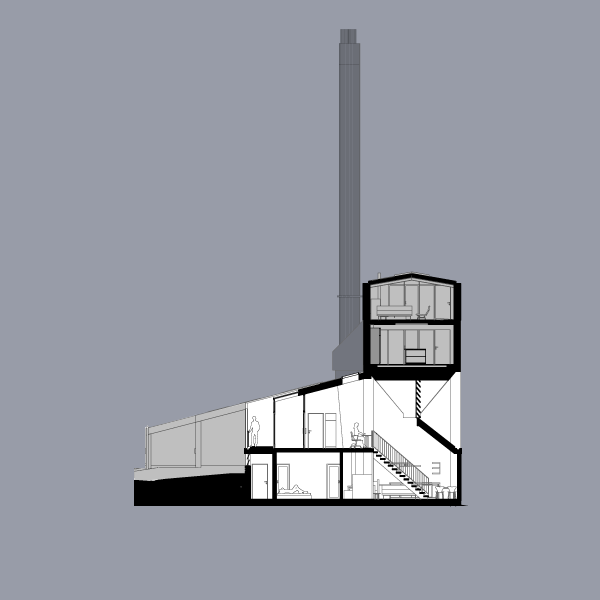 Section through flat 3, showing figure on roof terrace beyond winter garden