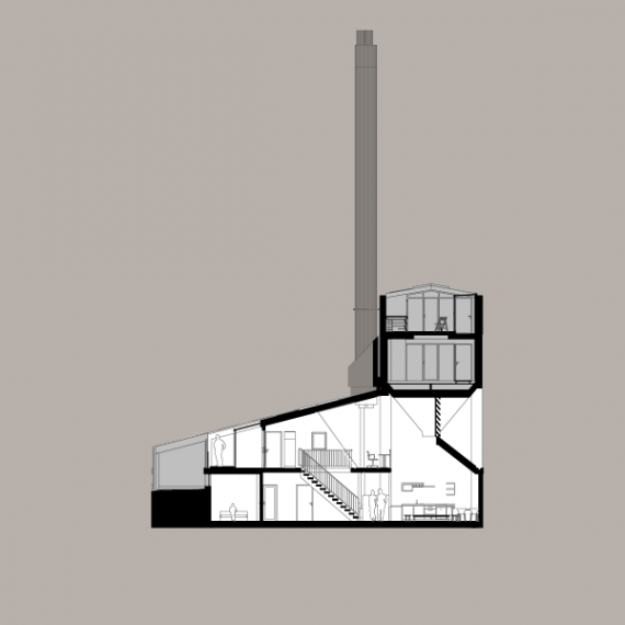 Section through flat 4, showing figure on roof terrace beyond winter garden