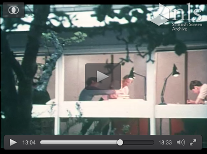 Peter Womersley in his Gattonside office the Rig in 1970, excerpt from the Scottish Screen Archive