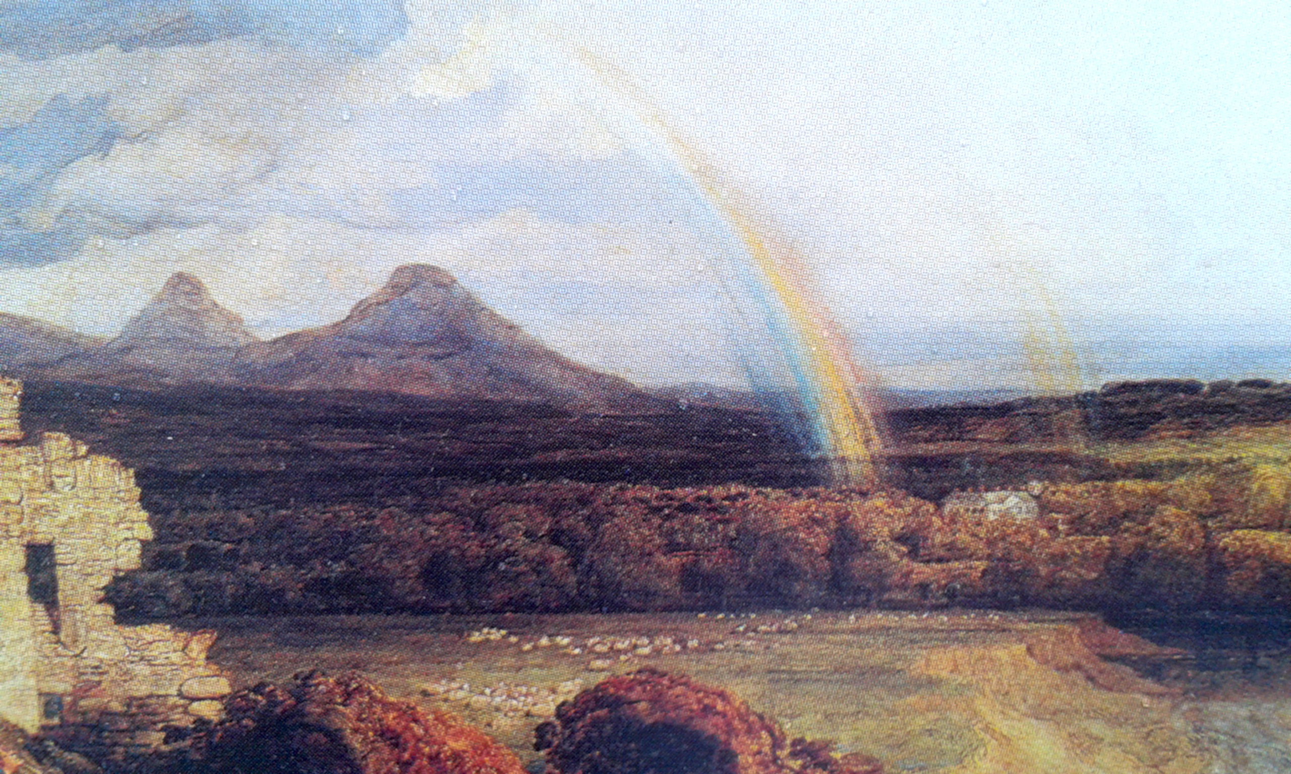 "Eildon Hills, now the backdrop to the boiler house at Dingleton, from postcard of ""Eildon Hills and the River Tweed"" by James Ward, 1807"