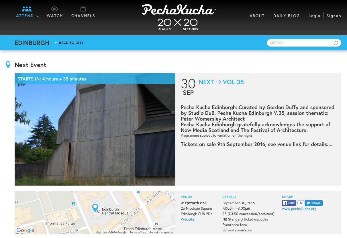 Pecha Kucha Edinburgh on Peter Womersley 30th September 7pm at Epworth Halls on Nicolson Square
