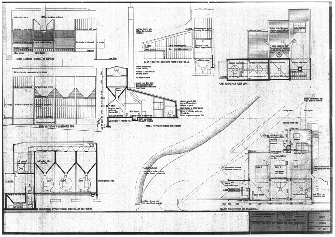 Peter Womersely original drawings for Dingleton Boilerhouse